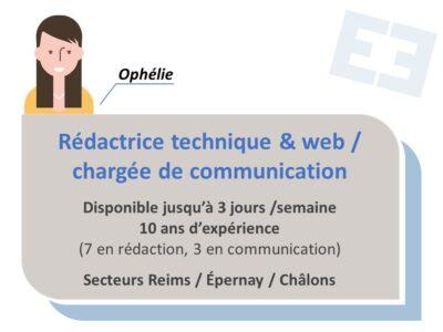 Ophélie - Rédactrice technique / Chargée de communication